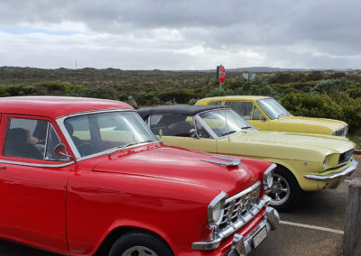 Old classic cars on Great Ocean road