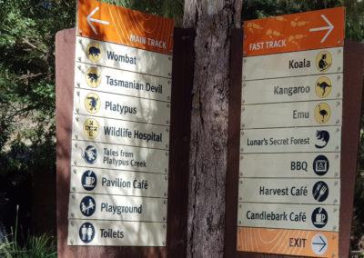 Direction at Healesville wildlife park