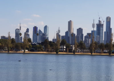 Melbourne city view over Albert Part Lake
