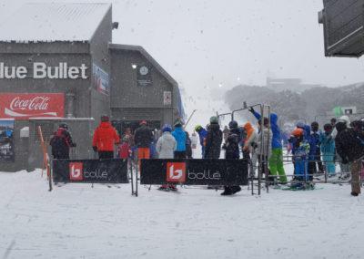 Waiting for ski lift at Blue Bullet mt Buller