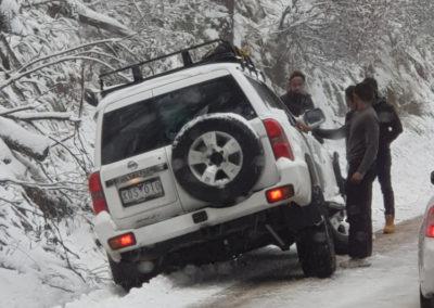 Car slid off road Mt Buller