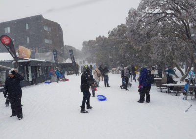 Snowing in village Mt Buller