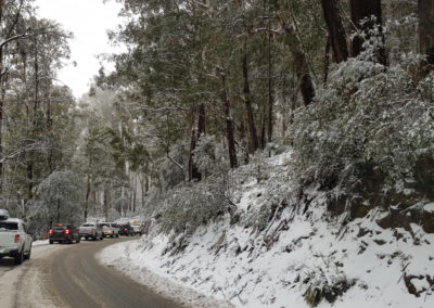 Very bust road to car park Mt Buller