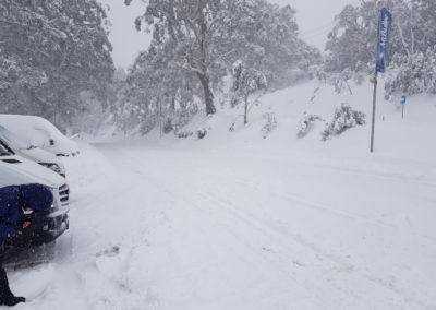 Road covered in Snow Mt Buller