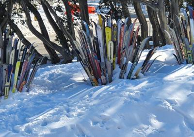 Plenty of Skis in the snow Mt Buller