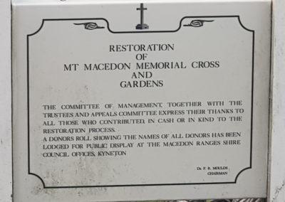 Restoration of Mt Macedon Cross