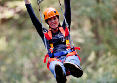 Zipping over trees at Otway Fly Adventure