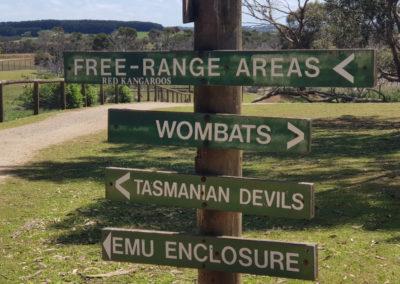 Directions at Phillip Island wildlife park