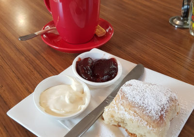 Coffee and scones at Grant's picnic grounds