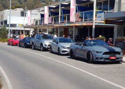 Sport cars stopped for lunch Great Ocean Road