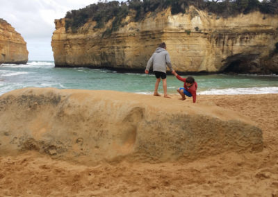 Climbing on rocks at Loch Ard Gorge